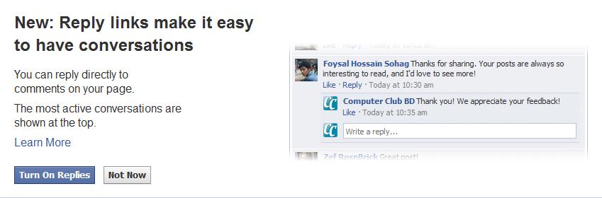 Facebook Reply Button