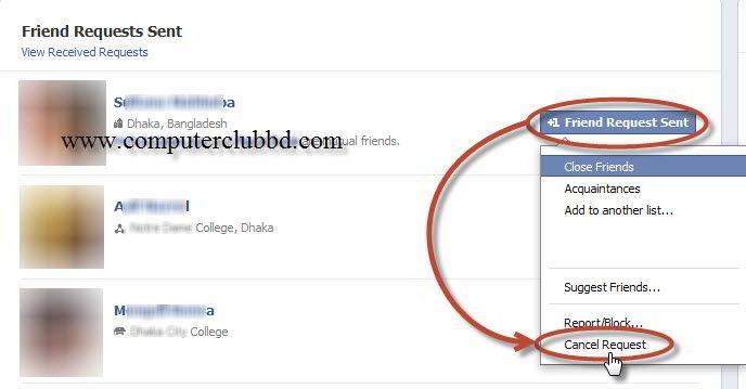 unaccepted facebook friend request